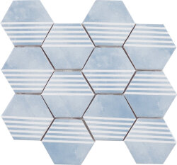 Мозаика (23.2x26.4) Malla Panal Hexagon Dec.2 Azul - Panal Hexagon
