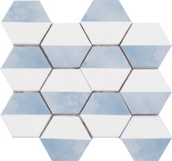 Мозаика (23.2x26.4) Malla Panal Hexagon Dec.3 Azul - Panal Hexagon