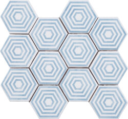 Мозаика (23.2x26.4) Malla Panal Hexagon Dec.5 Azul - Panal Hexagon