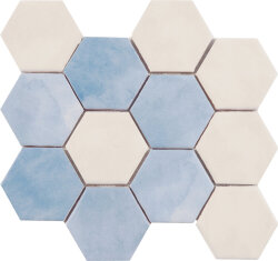 Мозаика (23.2x26.4) Malla Panal Hexagon Flor Crema-Azul - Panal Hexagon