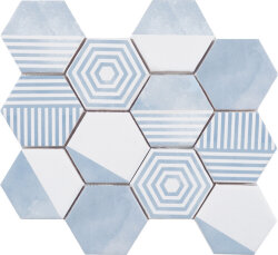 Мозаика (23.2x26.4) Malla Panal Hexagon Mix Azul - Panal Hexagon