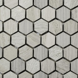 Мозаика (30x30) STAFWH/HEX23 EngravedStoneInWoodenWhite 23*10Mm - Le Acque Forti